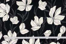 Šatovka 21505 čierna, biele kvety, š.145
