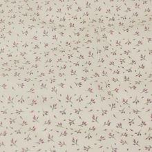 Bavlněné plátno krémové, drobné lila květy, š.140