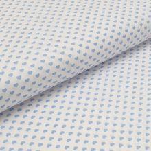 Bavlnené plátno biele, svetlo modrá srdiečka, š.140