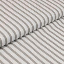 Bavlněné plátno bílé, šedé pruhy, š.160