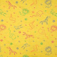 Úplet žltý, melanž, farebné zvieratká, š.155