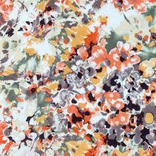 Ľanová kostýmovka, farebný kvetinový vzor, š.135