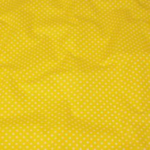 Bavlna žltá, biele bodky, š.140