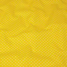 Bavlna žlutá, bílý puntík, š.140