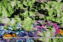 Úplet zelený, barevný květinový vzor, š.145