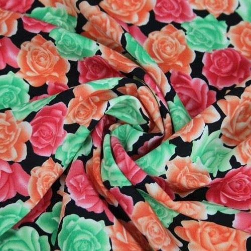 Šatovka kvety zelenej, červenej, oranžovej š.150