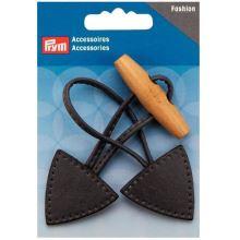 Kožené zapínání Prym s dřevěným kolíkem, černé