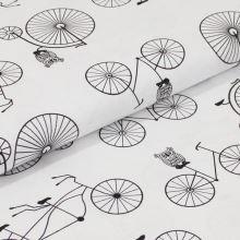 Bavlněné plátno bílé, černý bicykl, š.160
