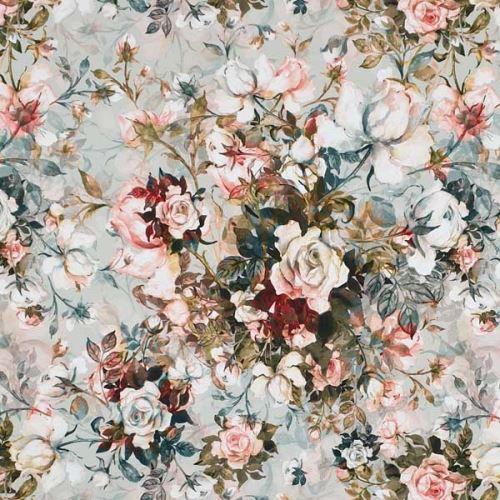 Teplákovina šedozelená, kytice růží, š.175