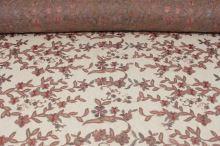 Vyšívaný tyl béžový šedo-růžová výšivka š.120/130