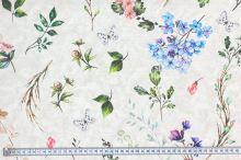Dekoračná látka P0565, kvety, listy, motýle, š.140