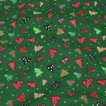 Bavlněné plátno zelené, vánoční stromečky, š.140