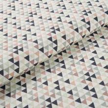 Bavlnené plátno krémové BW1541, farebné trojúheníky, š.145