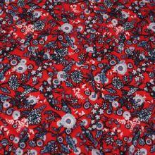 Úplet červený, šedo-modré kvety, š.150