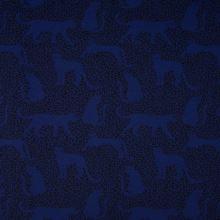 Teplákovina modrá počesaná, leopard, š.150