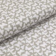 Bavlněné plátno šedé, bílí motýlci, š.140