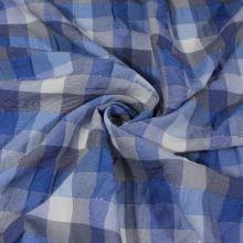 Košilovina modré káro s lurexem, š.130