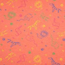 Úplet oranžový, melanž, barevná zvířátka, š.155