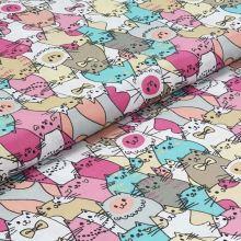 Bavlněné plátno, růžovo-tyrkysové kočky, š.140