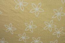Bavlna béžová, výšivka - biele kvety š.130