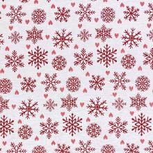 Vianočná dekoračná látka biela, červené vločky, š.280