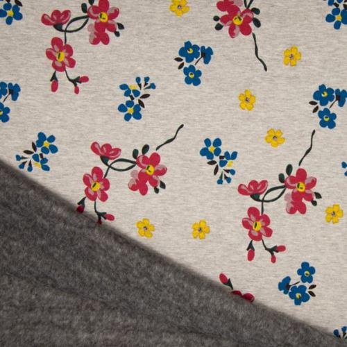 Warmkeeper šedý, farebné kvety, š.145