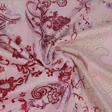 Bavlna ružová, vínovo-béžový vzor š.145