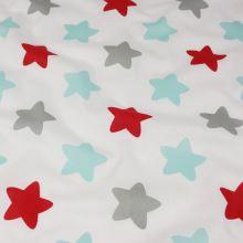 Bavlna bílá, tyrkysové, červené a šedé hvězdy, š.140