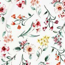 Šatovka 20792 biela, farebné kvety, š.145