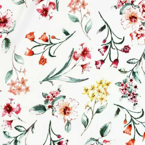 Šatovka 20792 bílá, barevné květy, š.145