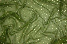 Hedvábný šifon zelený, zlatý puntík š.135