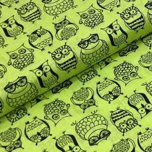 Bavlnené plátno P0680 žltozelené, sovičky, š.140