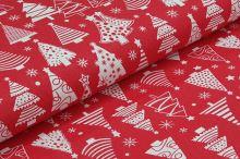 Bavlněné plátno červené, bílý vánoční stromeček, š.160