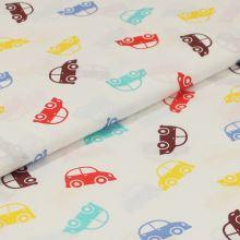 Bavlněné plátno bílé, barevná autíčka, š.140