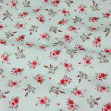 Bavlněné plátno mint, červené květy, š.145