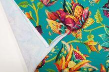 Teplákovina nepočesaná smaragdová, barevné květy, š.175