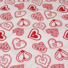 Bavlna bílá, červený potisk srdíčka, š.140