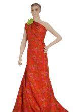Taft oranžový výšivka květy š.145