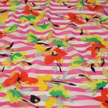 Šifon růžovo-bílý pruh, barevný květ, š.140