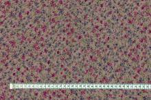 Šifón staroružový, fialové a sýto ružové drobné kvety, š.140