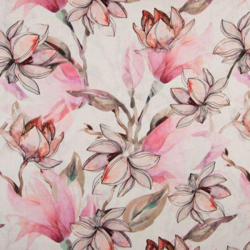 Ľan biely, ružové kvety magnólie, š.135