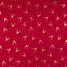 Vánoční popelín červený, zlaté hlavy sobů, š.145