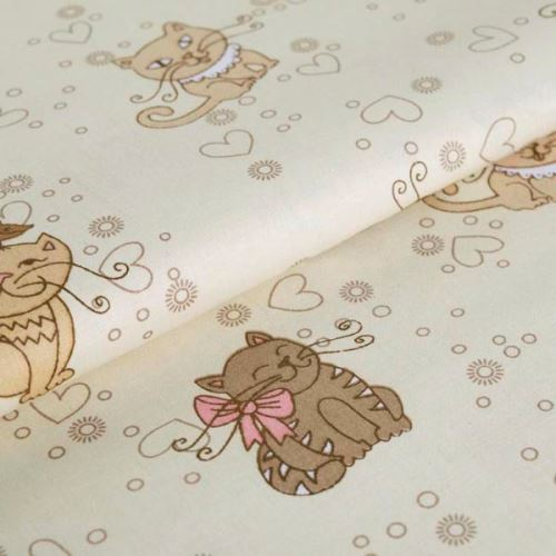 Bavlněné plátno krémové, kočky, š.145