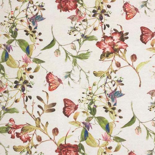 Dekoračná látka P0557 béžová, kvetinový vzor, š.140