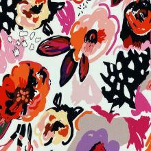 Teplákovina nepočesaná bílá, barevné květy, š.150