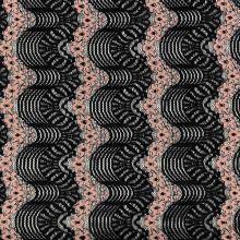 Čipka 20242, čierne vlny a púdrový vzor, š.135