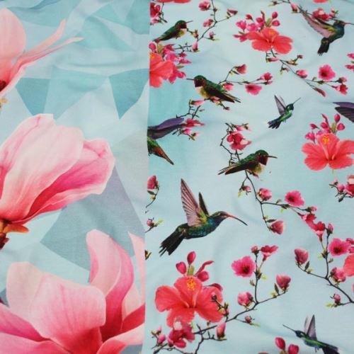 Úplet modrý, magnólie a kolibříci, š.160