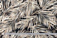 Lněná kostýmovka černá, béžovo-bílé palmové listy, š.135