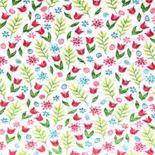 Minky s 3D puntíky bílé, luční květy, š.140