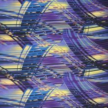 Satén fialový, modro-čierne prúžky, š.145